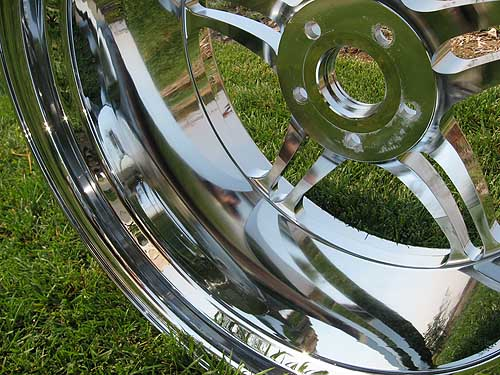 polished back barrel of wheel