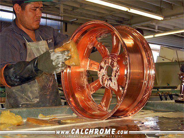 COPPER BATH After the wheel is copper buffed, all of the polishing compound must be washed away to ensure proper adhesion of the following metals.
