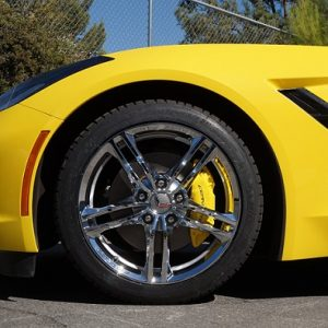yellow corvette calipers by calchrome
