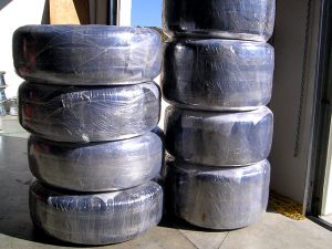 12. Mummy wrapped wheels ready for shipment.