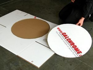 1. Cardboard rounds are cut for proper size