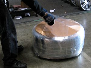 9. Several layers of shrink wrap applied end-over-end.