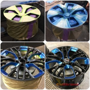 custom fusion powder coat and painted blue corvette wheel masked off by calchrome