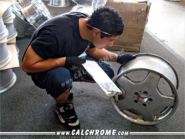 INSPECTION Wheels are inspected, and checked against included paperwork and photos are taken.