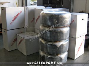 15. Boxed wheels ready for shipment.