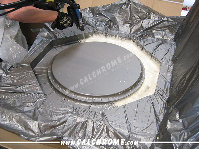 2. Foam is injected into mold cavity.