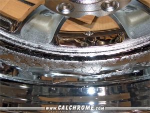 C. Heavy corrosion after rechrome No inner barrel polishing Visible through chrome