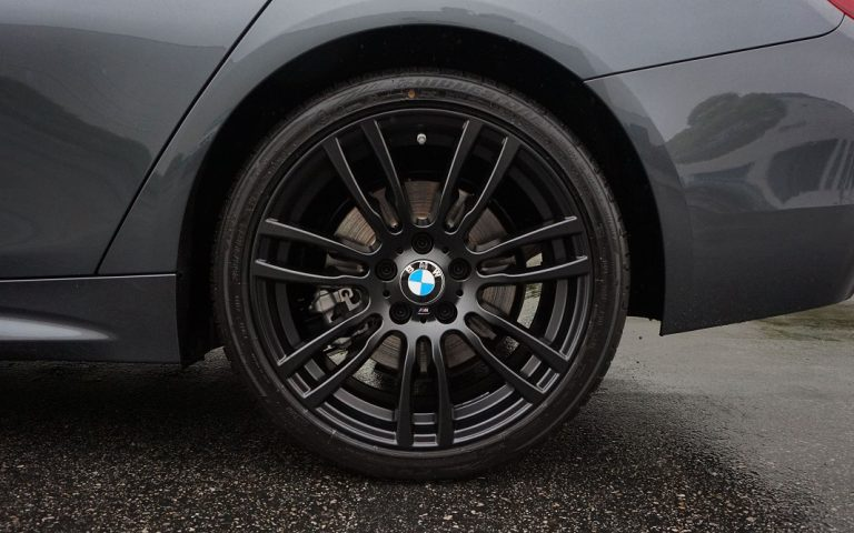 matte black wheel close bmw calchrome