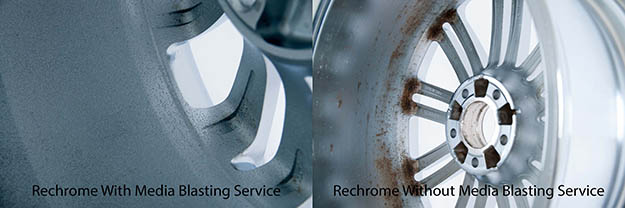 A. Minimal corrosion after rechrome inner barrel polishing Pitting visible through chrome.