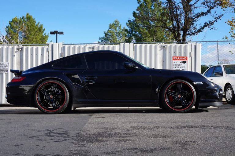 porsche matte black red pin stripe