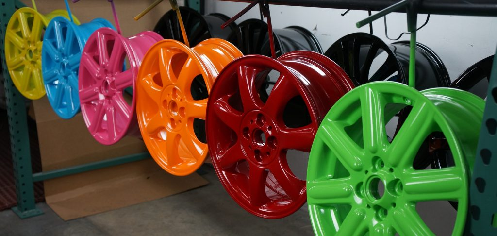 rainbow powder coat wheels rims