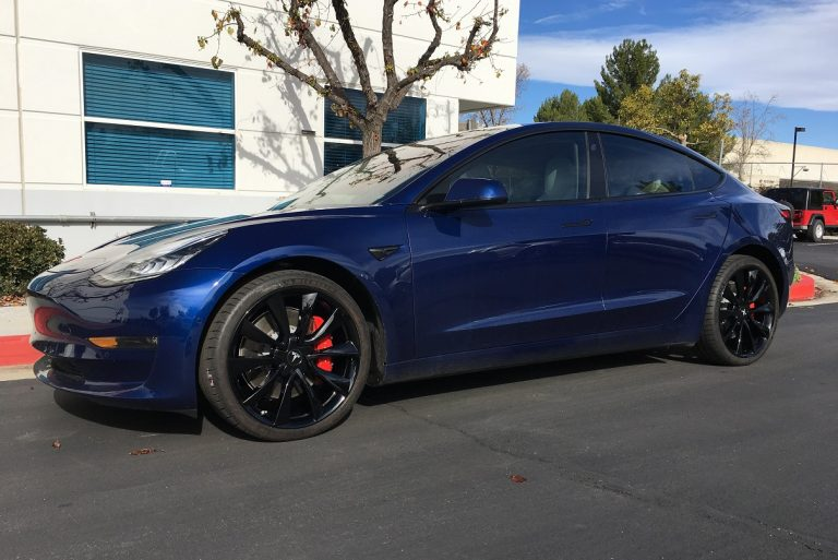 tesla model 3 gloss black wheels rims calchrome