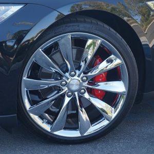 chrome plated tesla model s wheels