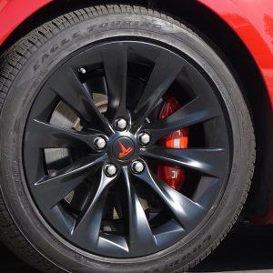 blackout package or chrome delete for matte black tesla model s wheels oem