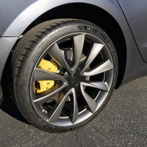 chrome delete for yellow tesla model 3 brake calipers