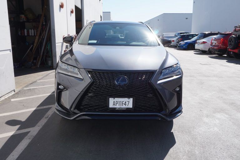 front of lexus f sport black grill and detailing