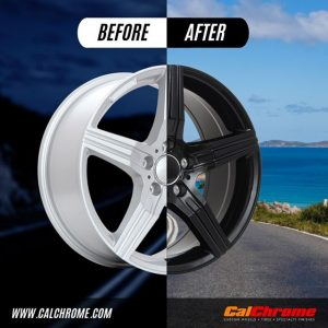 before and after or matte black fusion powder coated wheels or rims