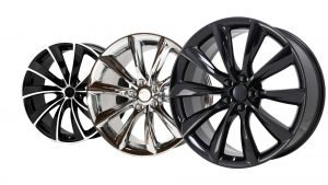 chrome versus gloss black tesla wheels