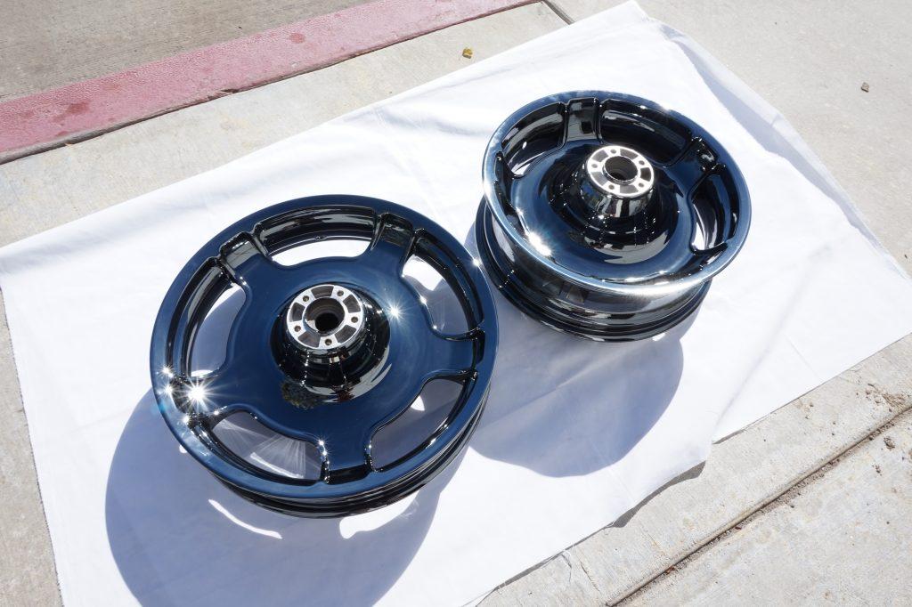 motorcycle wheels in black chrome