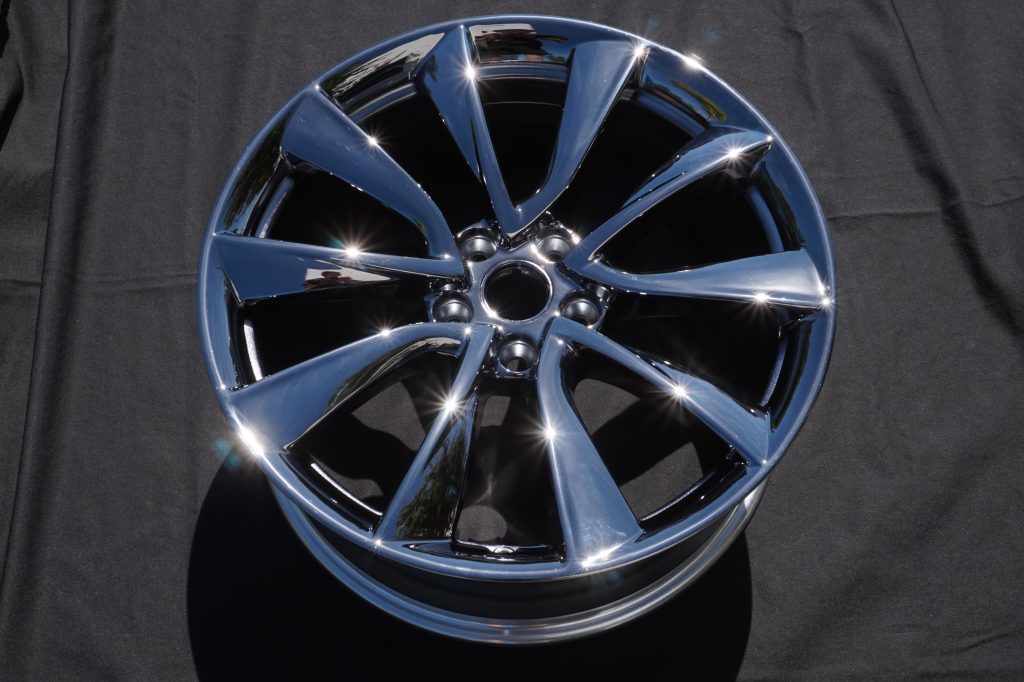 black chrome tesla wheel by calchrome