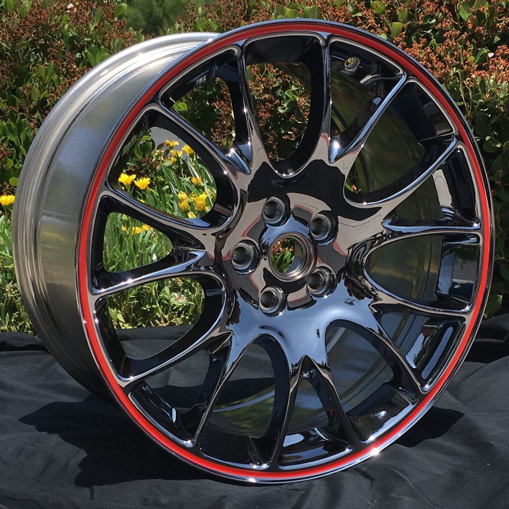 black chrome wheel in red pinstripe by calchrome