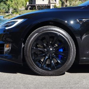 chrome delete for chrome delete tesla with black wheels and blue calipers