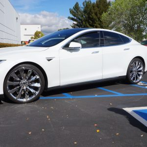 tesla model s with chrome plated wheels